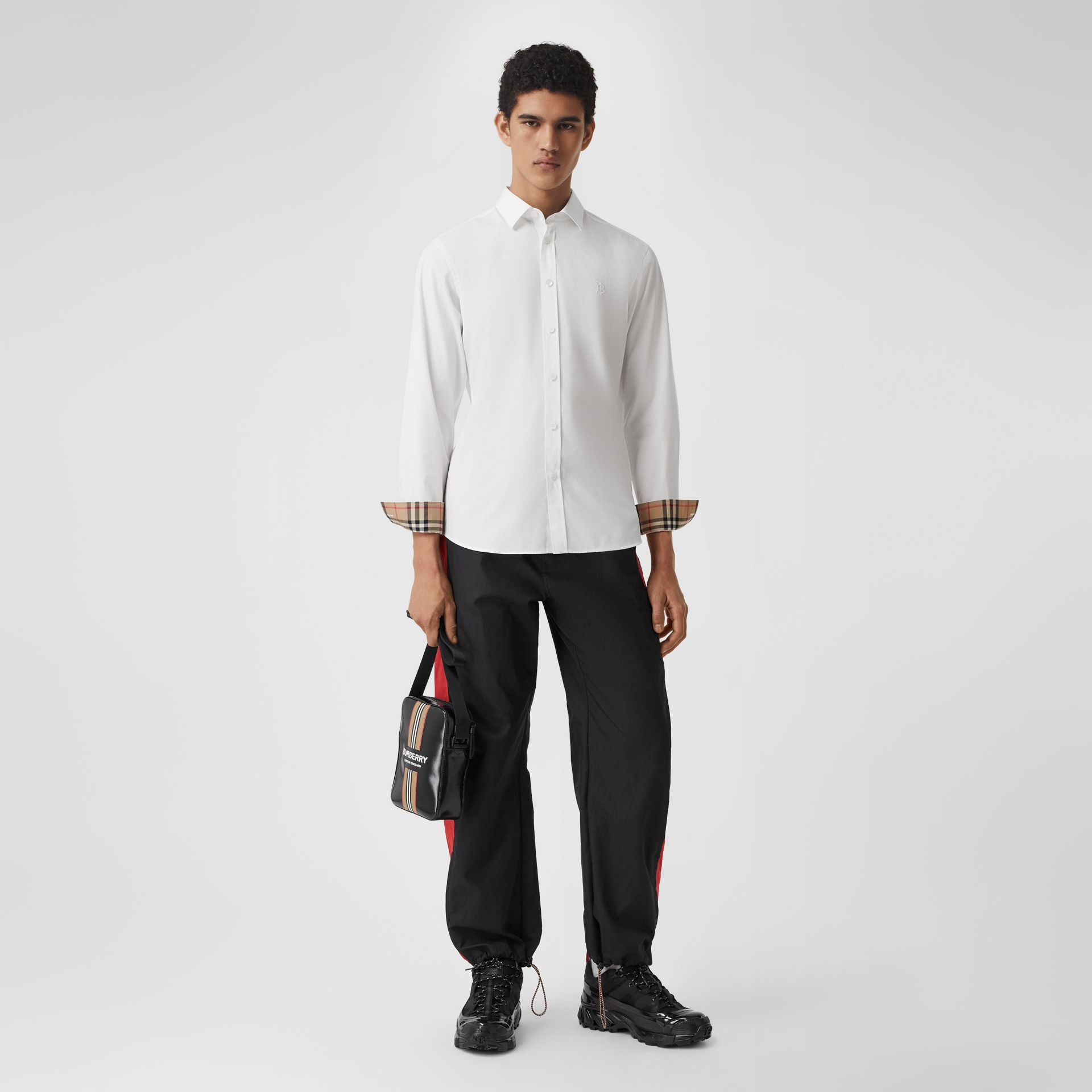 Slim Fit Monogram Motif Stretch Cotton Poplin Shirt in White - Men | Burberry United States - gallery image 5