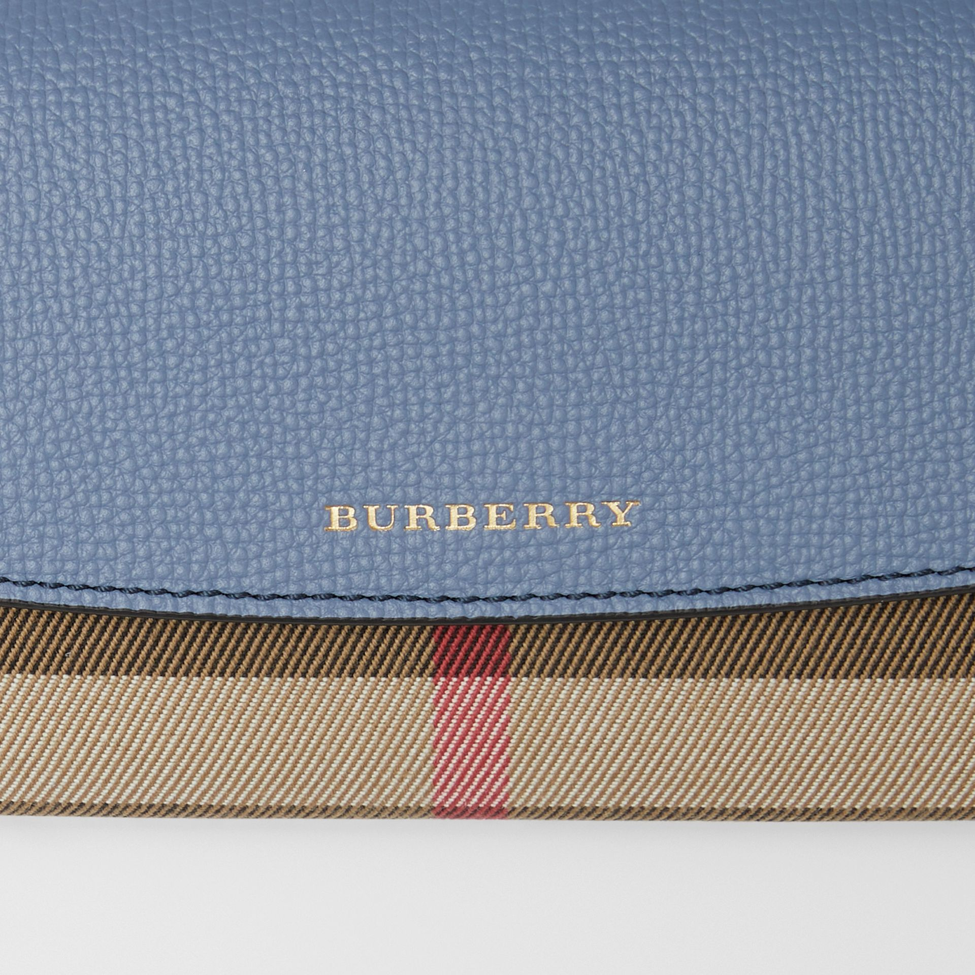 House Check and Leather Continental Wallet in Slate Blue - Women | Burberry - gallery image 1