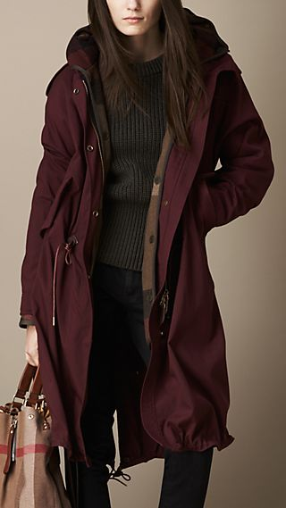 Oversize Parka with Check Wool Warmer