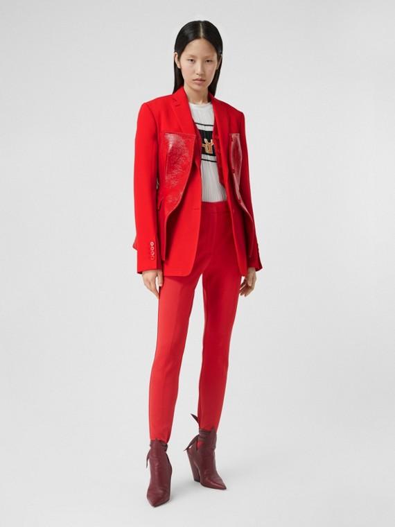 Veste tailleur en laine avec corset en vinyle (Rouge Vif)