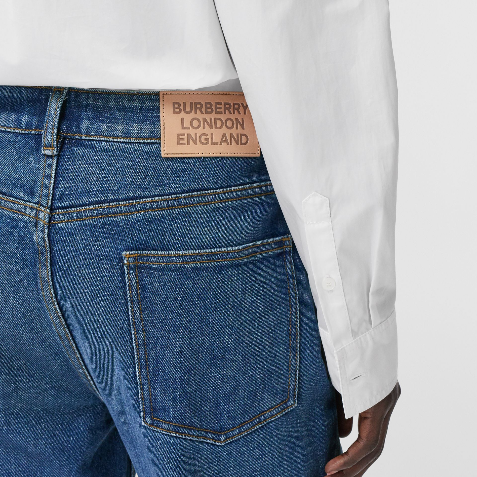 Straight Fit Striped Cuff Washed Jeans in Mid Indigo Blue - Women | Burberry - gallery image 4