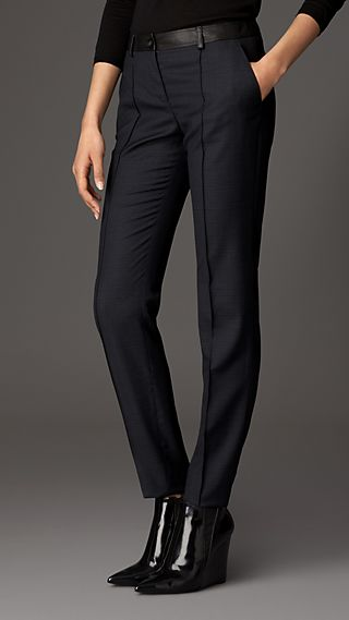 Skinny Fit Leather Trim Wool Trousers