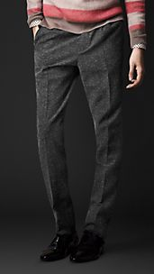 Pantalon de coupe étroite sans pinces en tweed