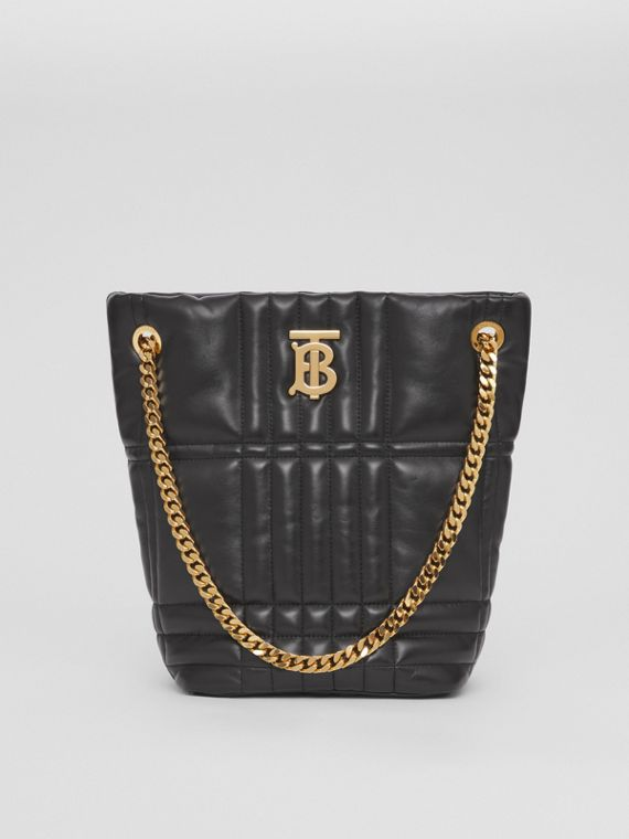 Small Quilted Lambskin Lola Bucket Bag in Black