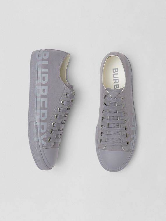 Logo Print Cotton Gabardine Sneakers in Flint Grey