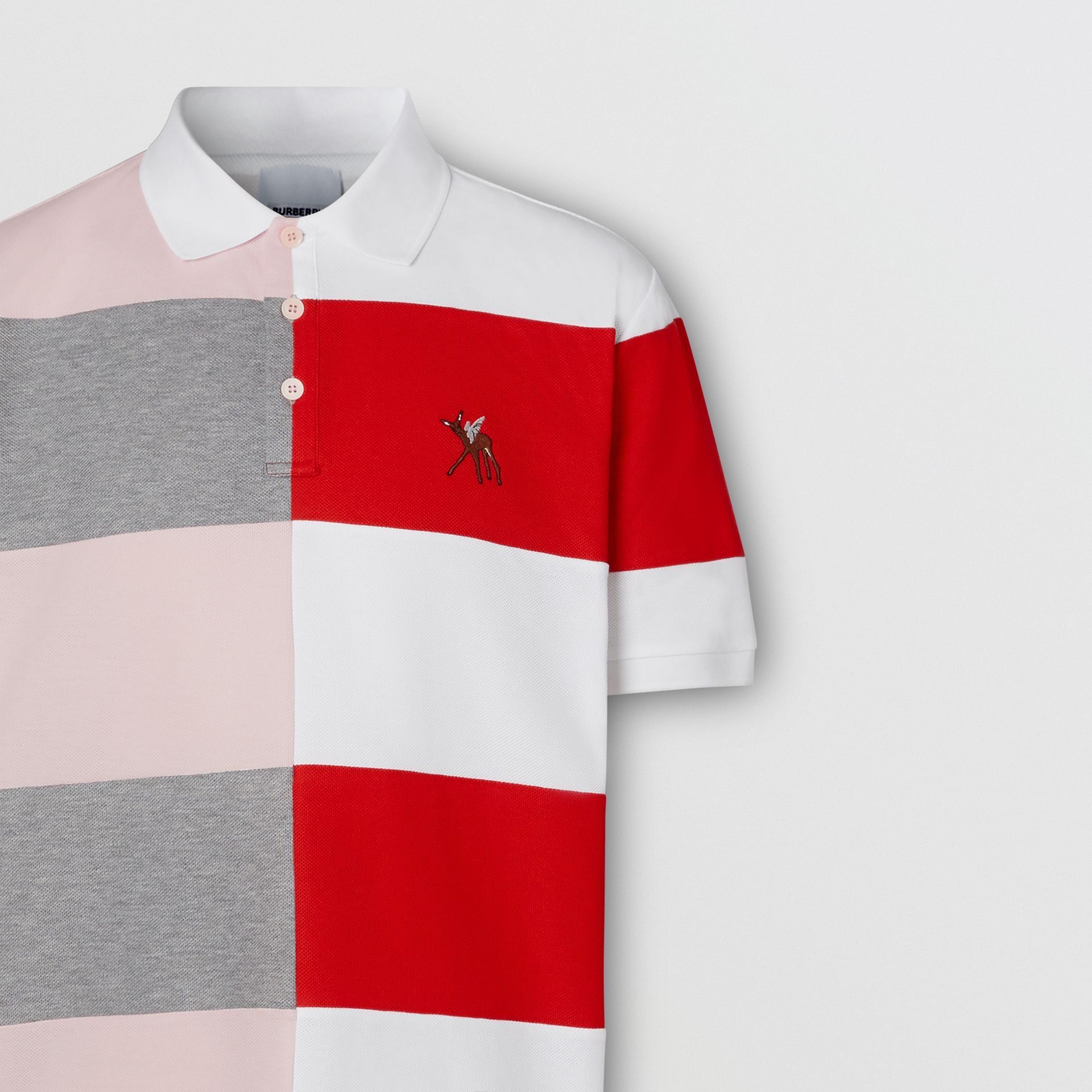Deer Motif Colour Block Oversized Polo Shirt – Online Exclusive in Alabaster Pink - Men | Burberry - gallery image 6