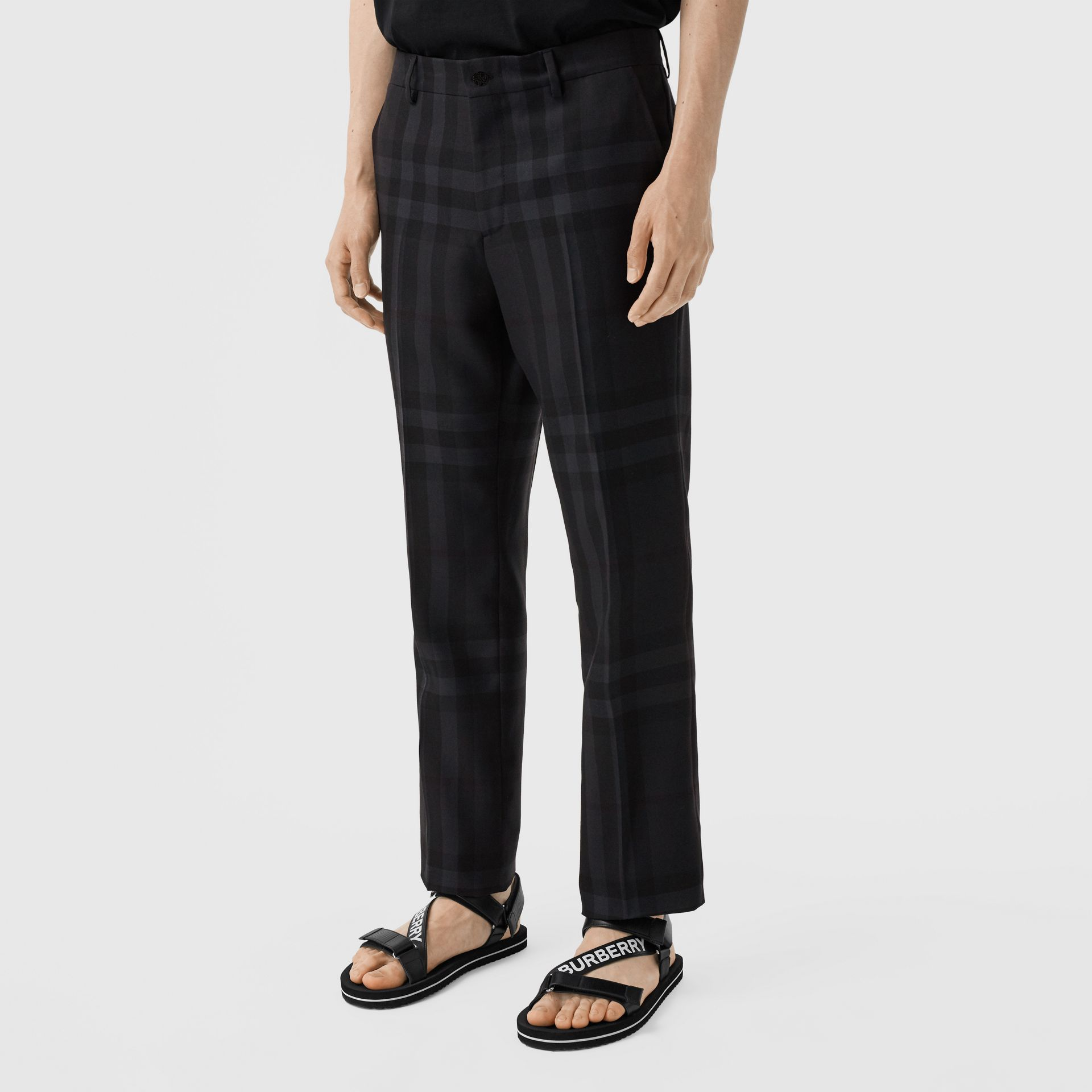 Classic Fit Check Wool Tailored Trousers in Charcoal - Men | Burberry - gallery image 4
