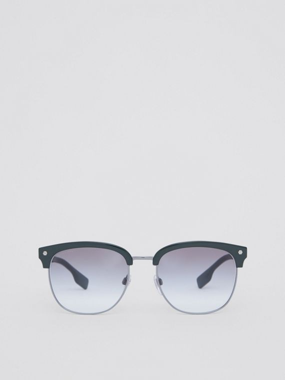 Icon Stripe Detail Square Frame Sunglasses in Military Green