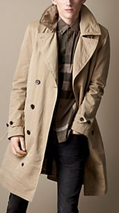 Trench-coat long en gabardine de coton vernie