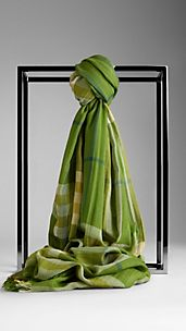 Check Wool Silk Scarf