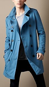 Trench coat de longitud media en sarga de algodón