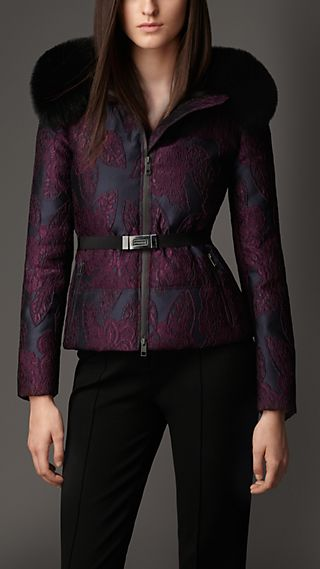 Fur Trim Floral Jacquard Jacket