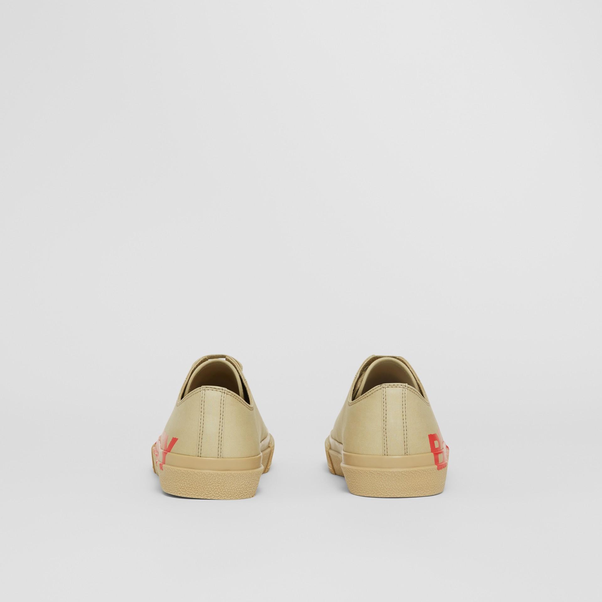 Logo Print Cotton Gabardine Sneakers in Dark Honey - Women | Burberry - gallery image 4
