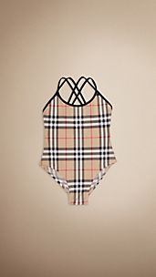 Cross Back Check Swimsuit