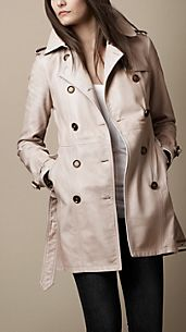 Mid-Length Washed Leather Trench Coat