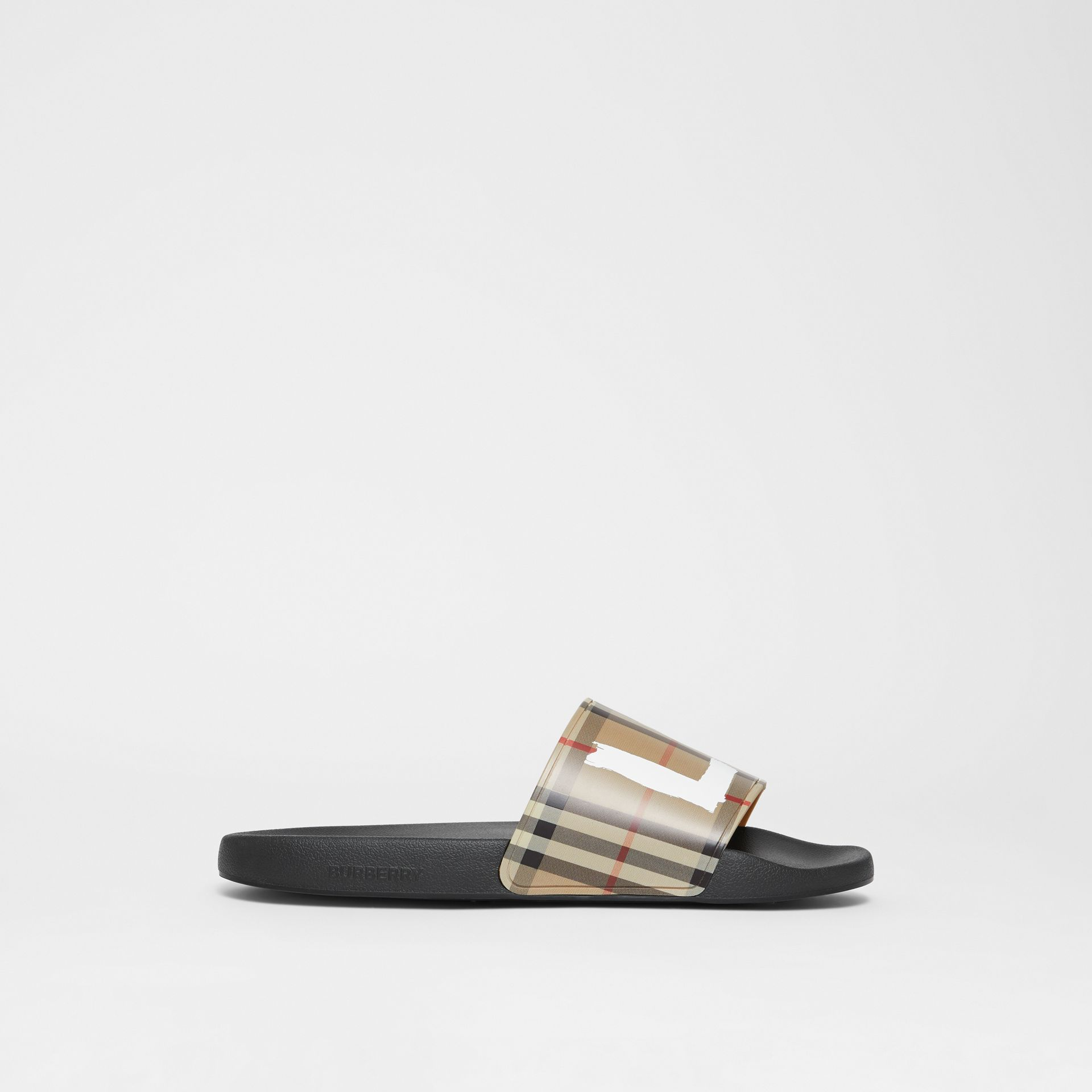 Love Print Vintage Check Slides in Archive Beige - Men | Burberry - gallery image 4
