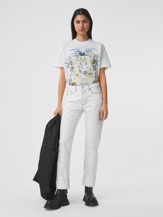 Marine Sketch Print Cotton Oversized T-shirt in White
