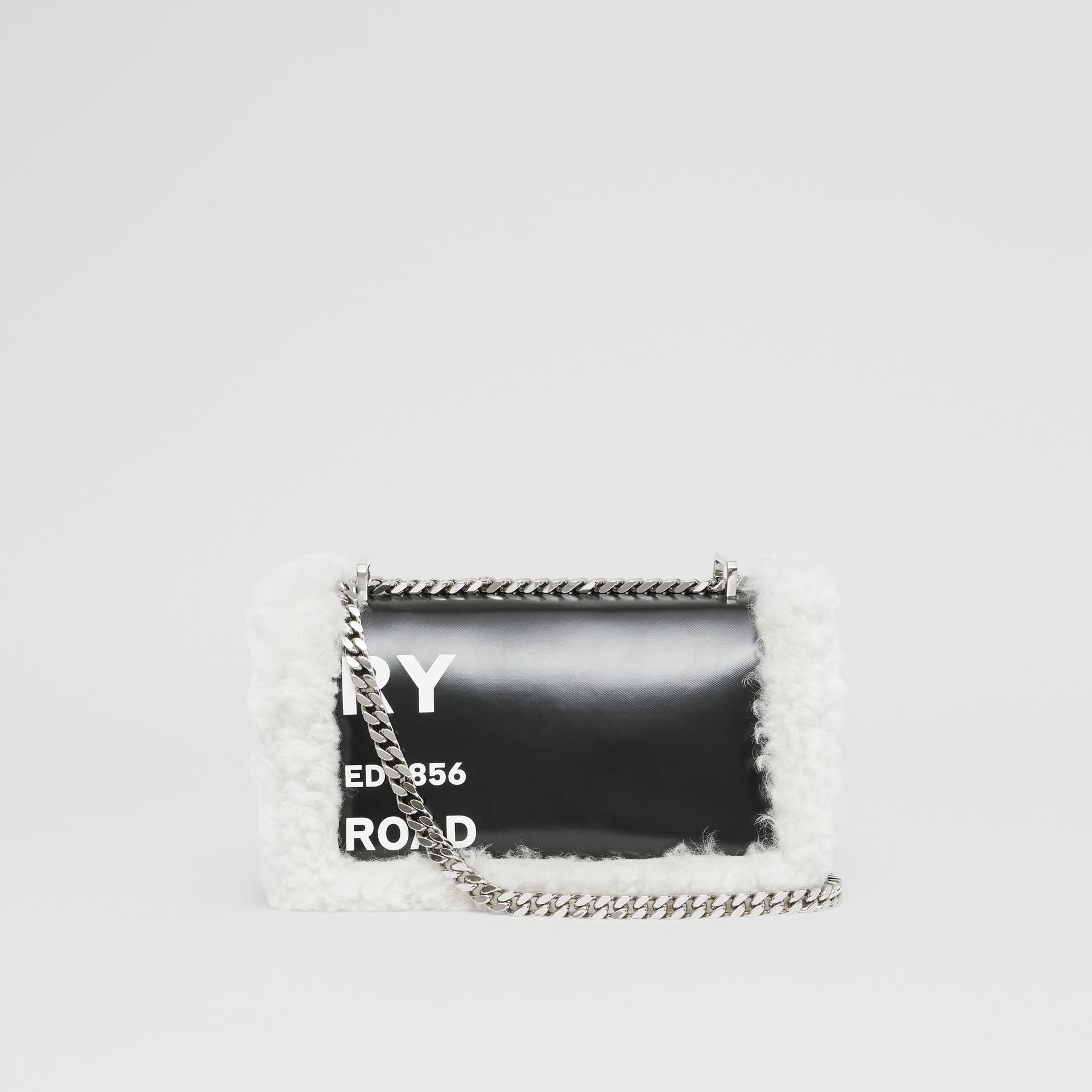 Small Horseferry Print Coated Canvas and Shearling Lola Bag in Black - Women | Burberry United Kingdom - gallery image 7