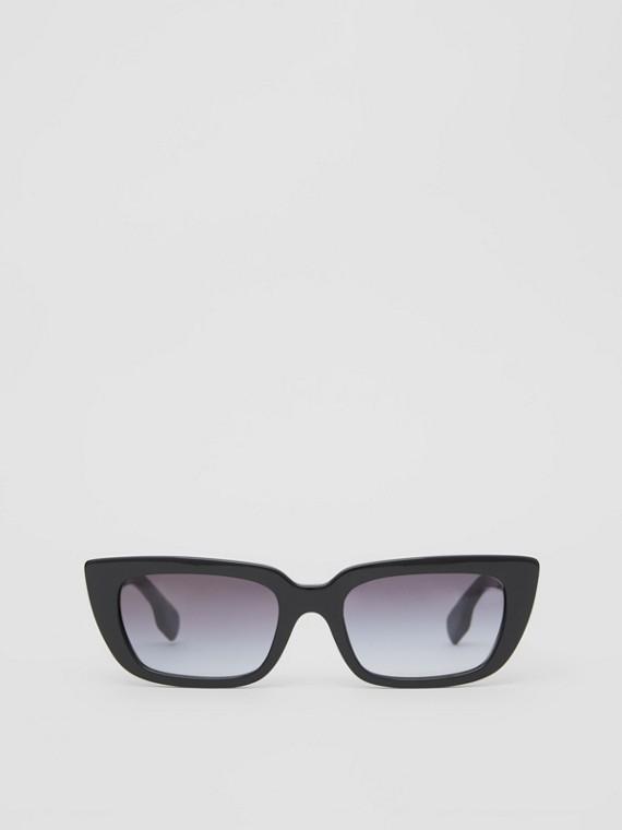 Óculos de sol com armação retangular em bioacetato (Preto)