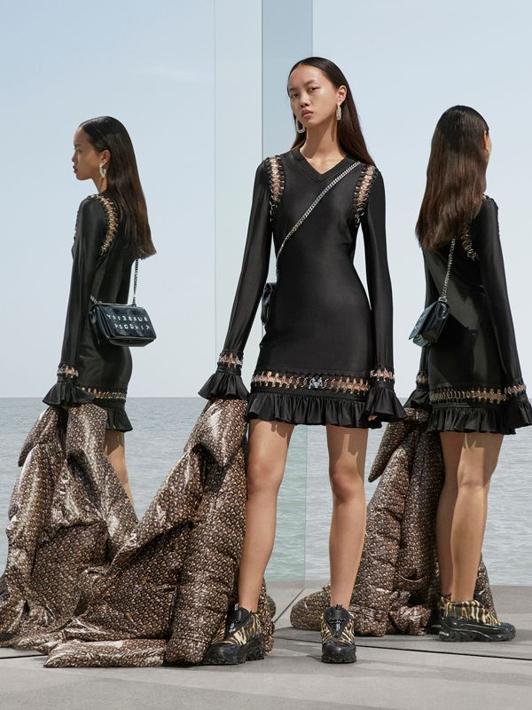 Ring-pierced Stretch Jersey Mini Dress in Black - Women | Burberry United Kingdom - cell image 2