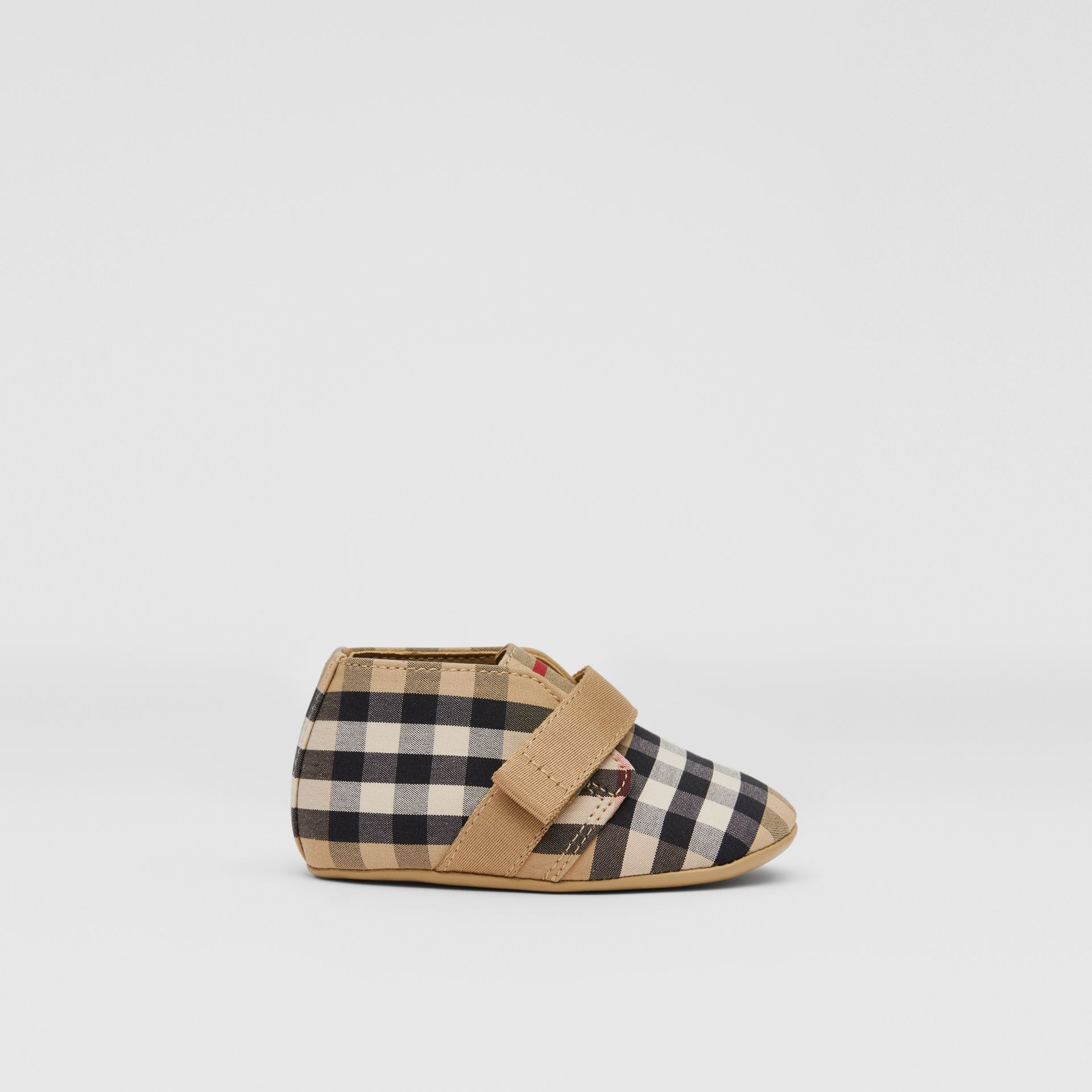 Vintage Check Cotton Booties in Archive Beige - Children | Burberry United Kingdom - gallery image 3