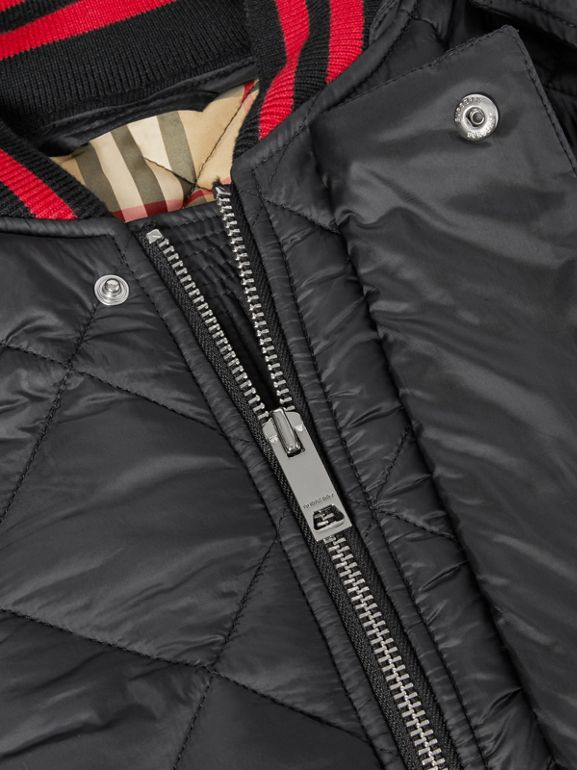 Detachable Hood Logo Detail Diamond Quilted Coat | Burberry United Kingdom - cell image 1