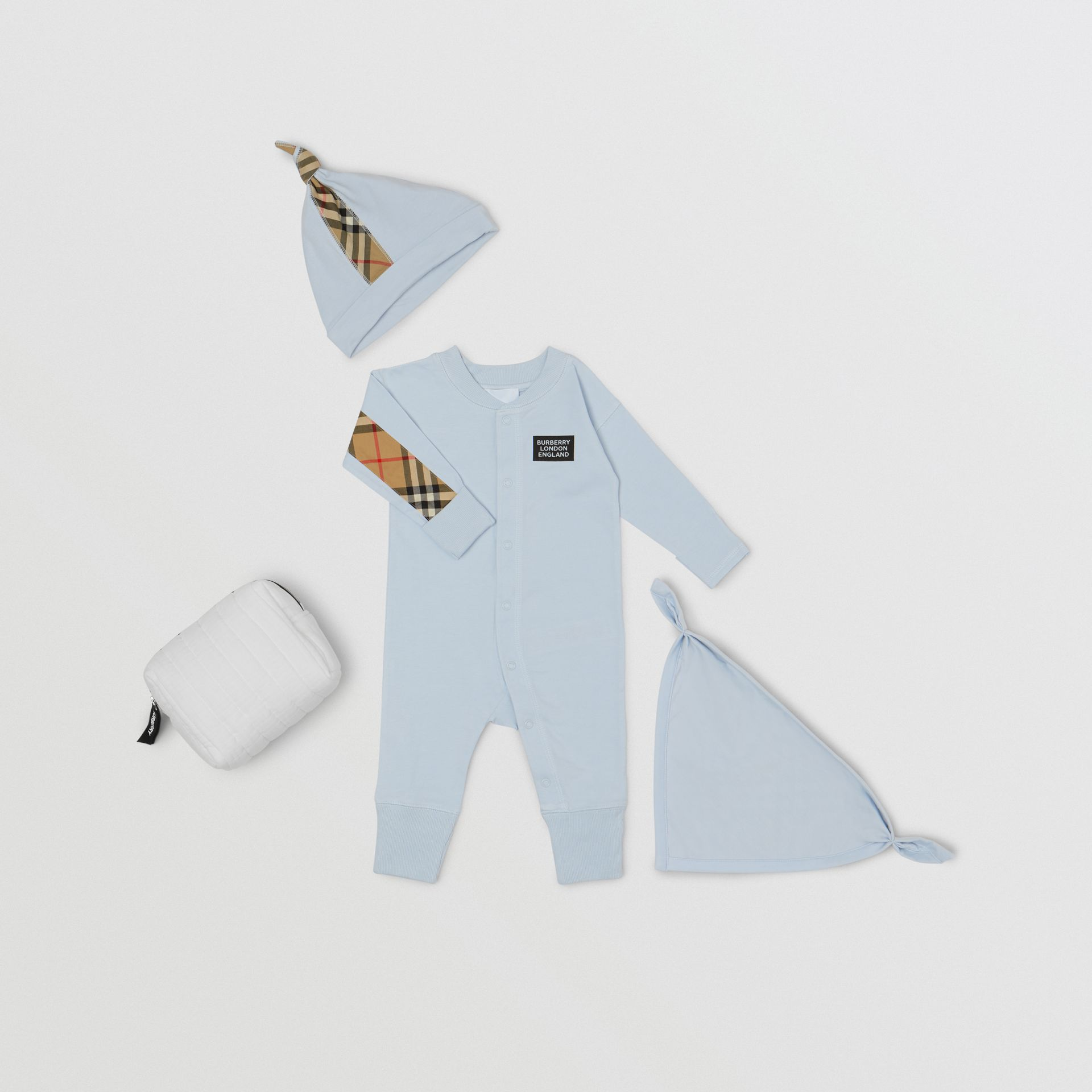 Check Trim Organic Cotton Three-piece Baby Gift Set - Children | Burberry United Kingdom - gallery image 0