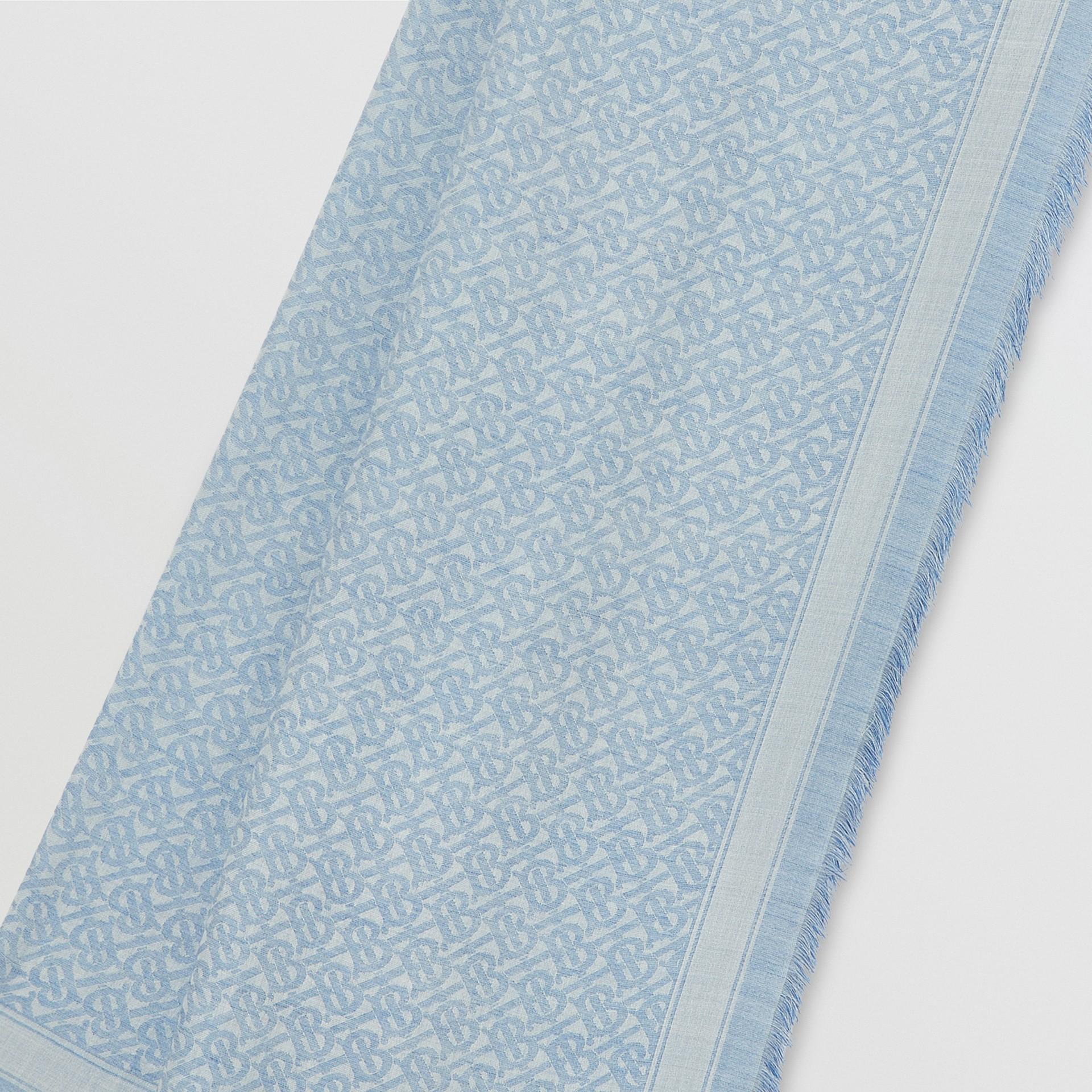 Monogram Wool Silk Jacquard Scarf in Denim Blue | Burberry United Kingdom - gallery image 1