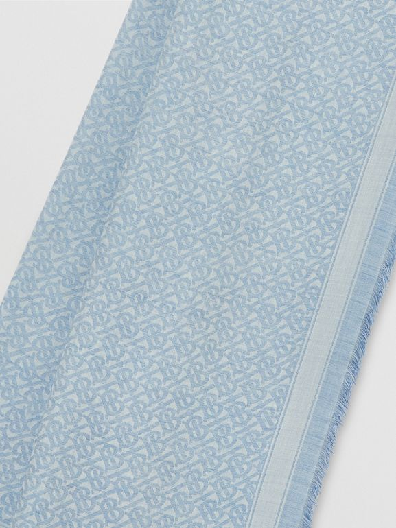 Monogram Wool Silk Jacquard Scarf in Denim Blue | Burberry United Kingdom - cell image 1