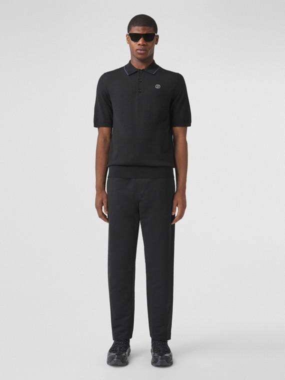 Poloshirt aus Wolle, Seide und Kaschmir mit Monogrammmotiv (Schwarz)