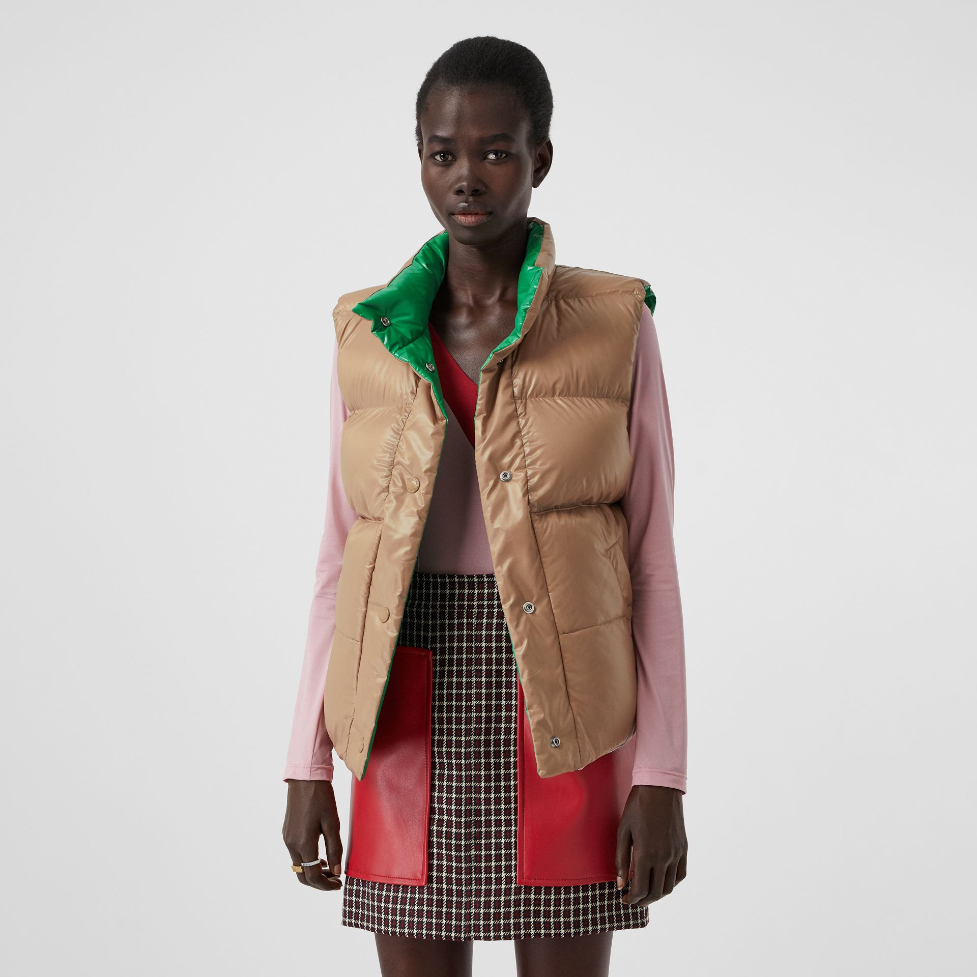 Tartan Wool Tailored Jacket with Detachable Gilet in Bordeaux - Women | Burberry - gallery image 4