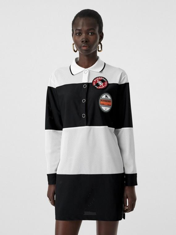 Logo Graphic Striped Mesh Polo Shirt Dress in Black