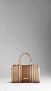 Medium Metallic and Suede Detail Leather Bowling Bag