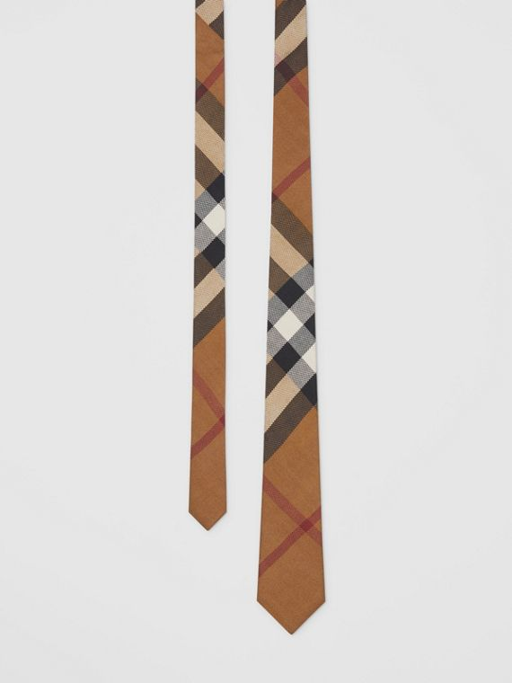 Classic Cut Check Silk Jacquard Tie in Birch Brown