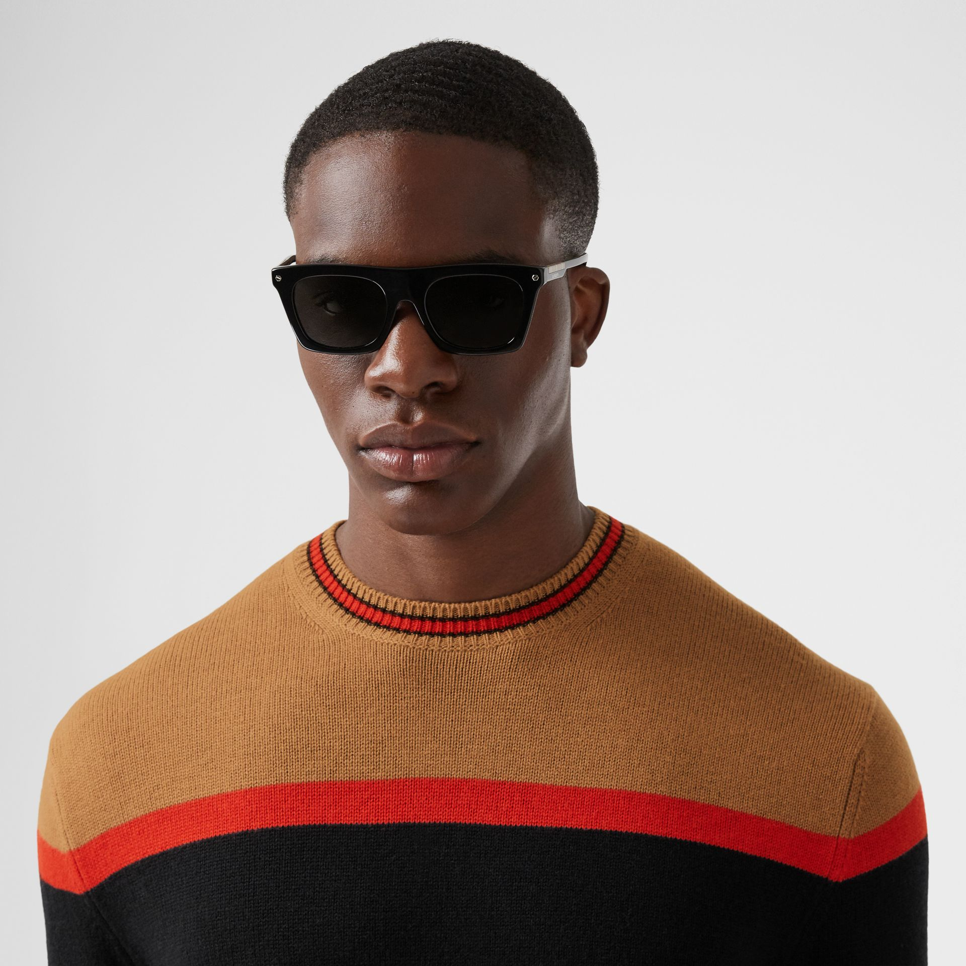 Striped Wool Cashmere Sweater in Black - Men | Burberry - gallery image 1