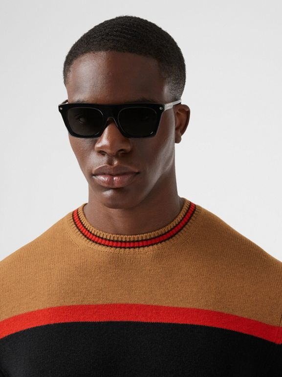 Striped Wool Cashmere Sweater in Black - Men | Burberry - cell image 1