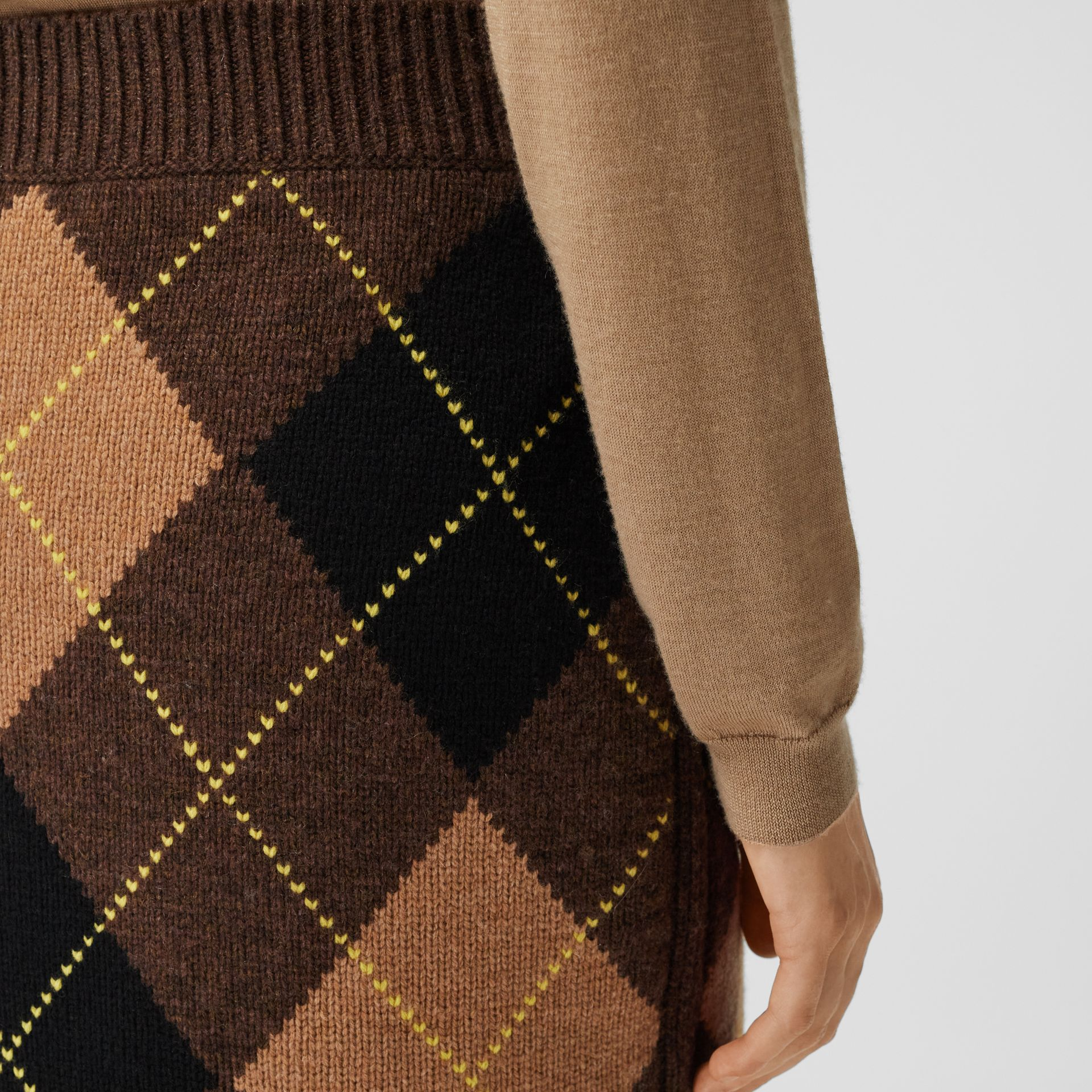 Argyle Intarsia Wool Cashmere Pencil Skirt in Dark Khaki - Women | Burberry - gallery image 1