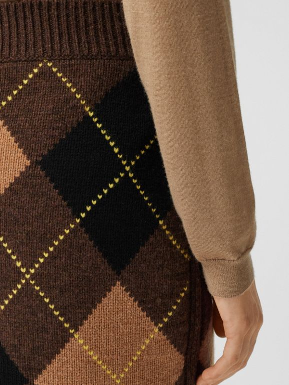 Argyle Intarsia Wool Cashmere Pencil Skirt in Dark Khaki - Women | Burberry - cell image 1