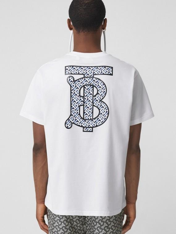 Oversize-T-Shirt aus Baumwolle mit Monogrammmotiv (Weiß)