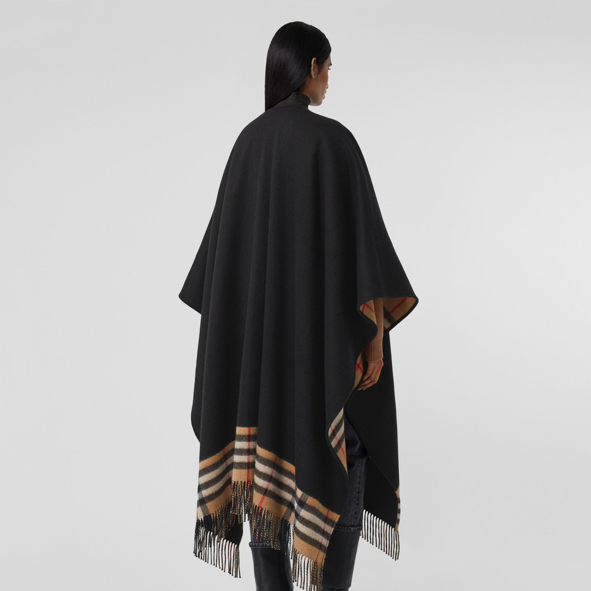 Check-lined Cashmere Merino Wool Cape in Black - Women | Burberry - gallery image 2
