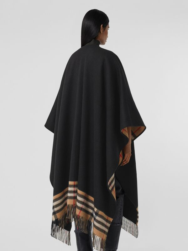 Check-lined Cashmere Merino Wool Cape in Black - Women | Burberry - cell image 2