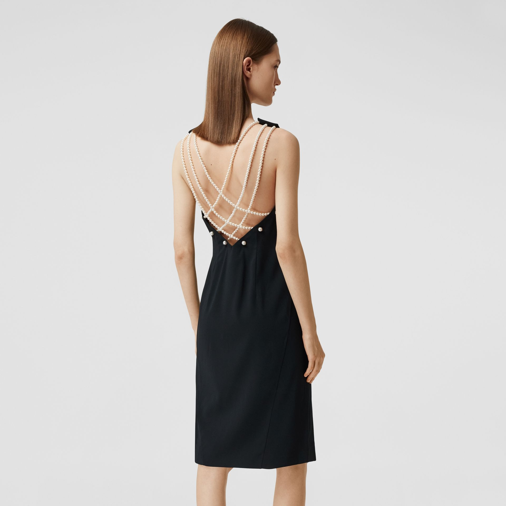 Glass Pearl Detail Satin Crepe Shift Dress in Black - Women | Burberry - gallery image 5