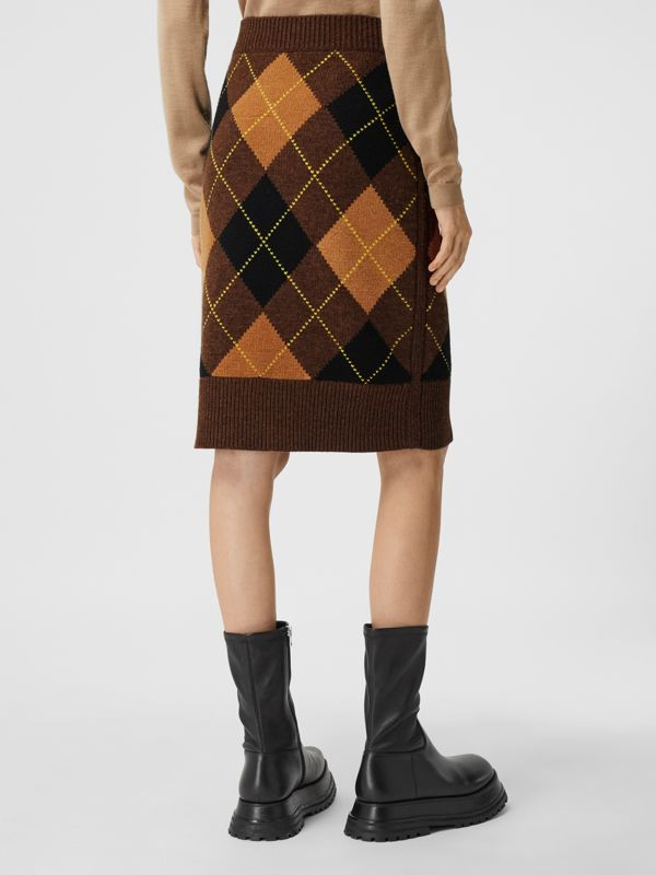 Argyle Intarsia Wool Cashmere Pencil Skirt in Dark Khaki - Women | Burberry - cell image 2