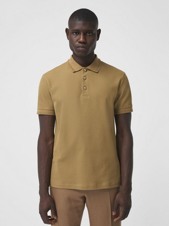 Cotton Piqué Polo Shirt in Mid Camel