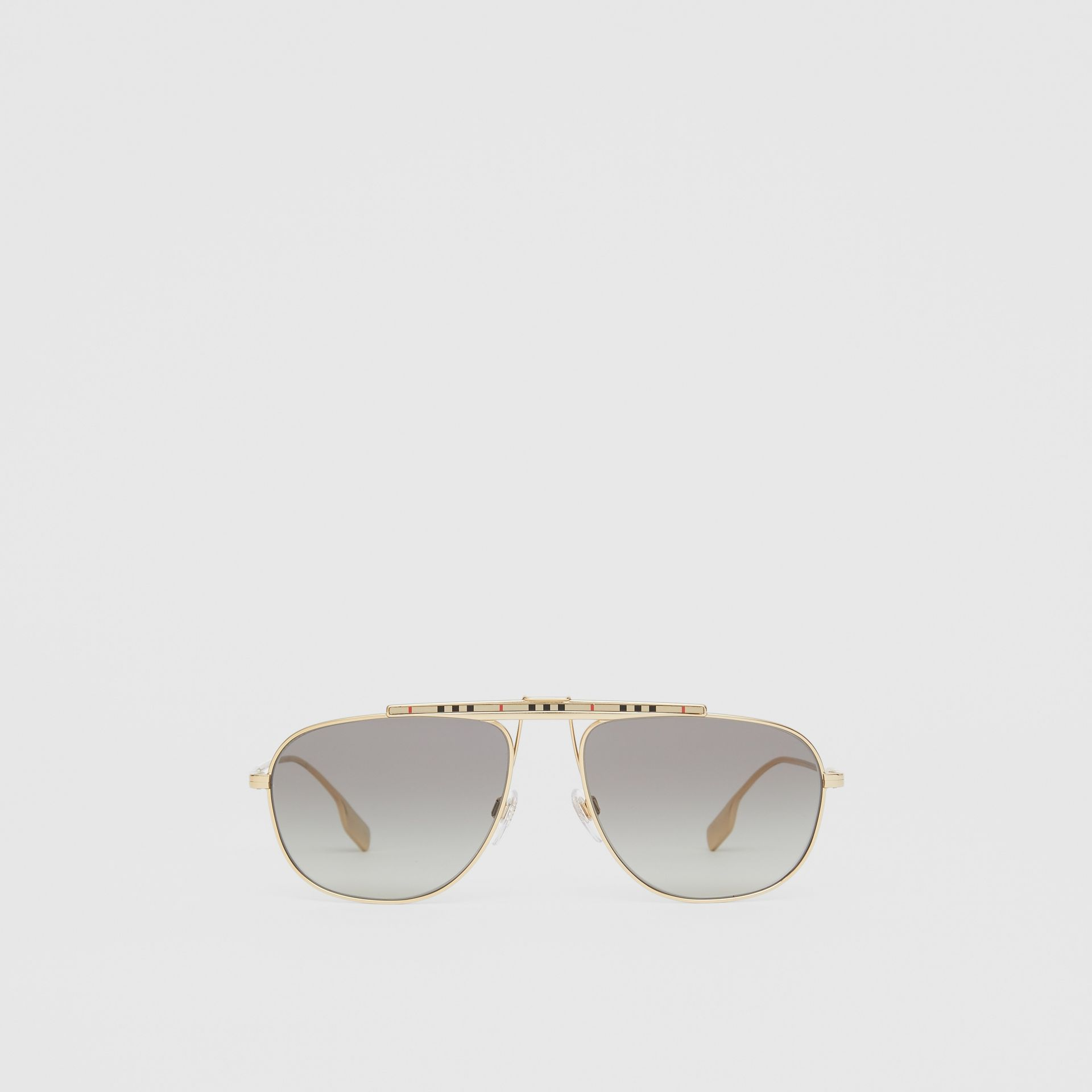 Icon Stripe Detail Pilot Sunglasses in Gold - Men | Burberry - gallery image 0