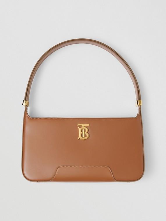 Leather TB Shoulder Bag in Warm Tan