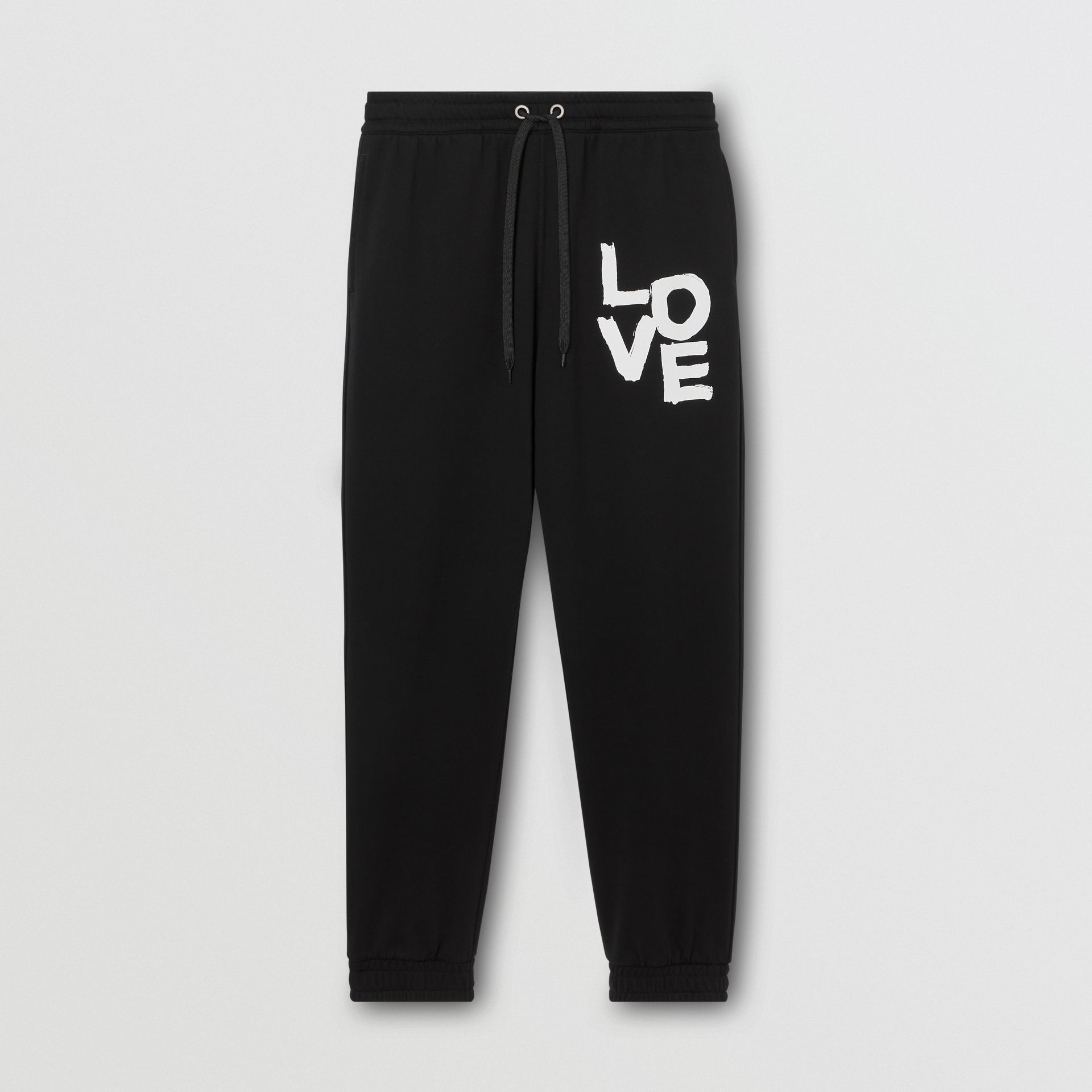 Love Print Cotton Jogging Pants in Black - Men | Burberry - gallery image 3