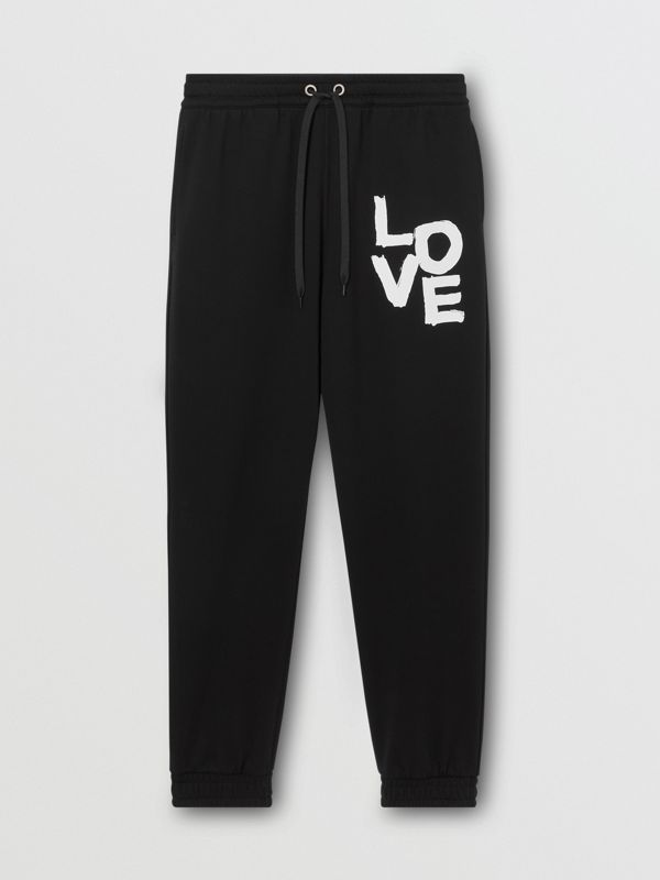 Love Print Cotton Jogging Pants in Black - Men | Burberry - cell image 3