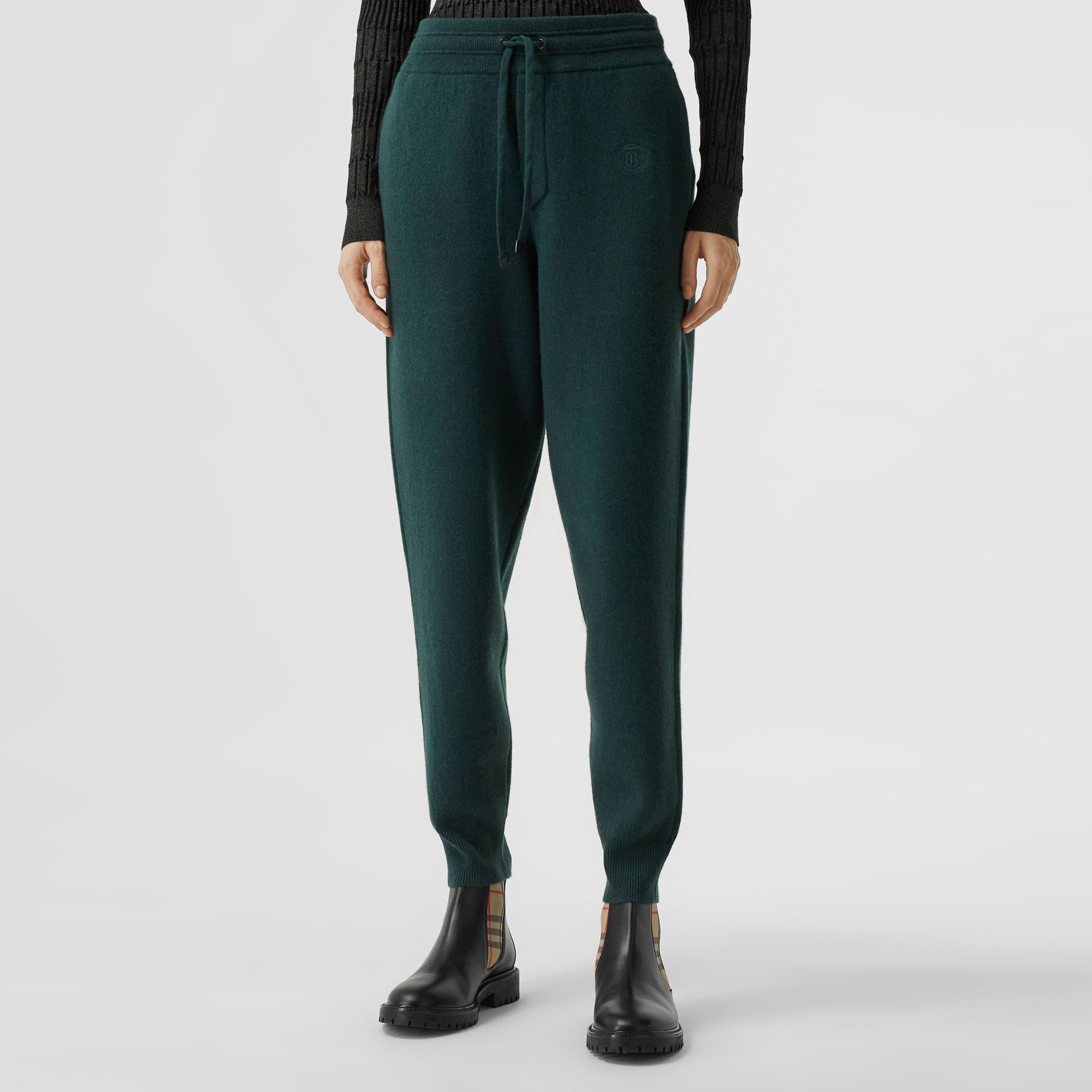 Monogram Motif Cashmere Blend Jogging Pants in Bottle Green - Women | Burberry - gallery image 4