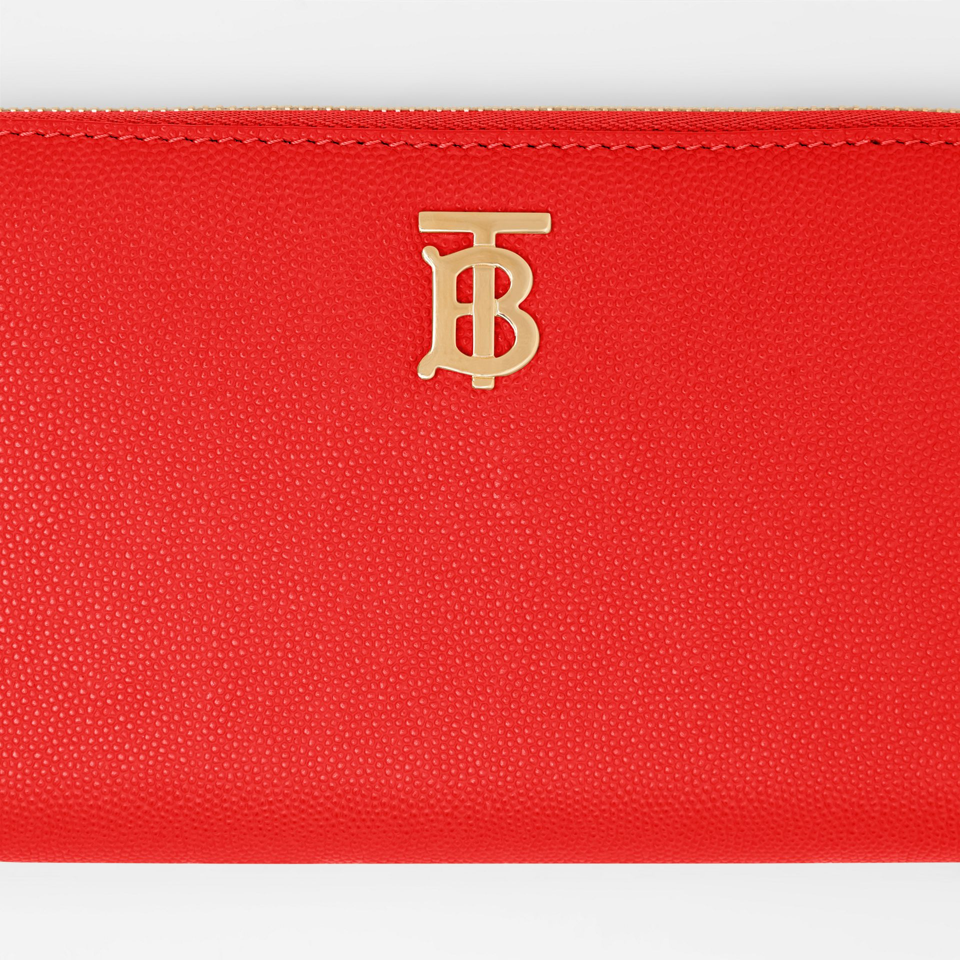 Monogram Motif Grainy Leather Ziparound Wallet in Bright Red - Women | Burberry - gallery image 1